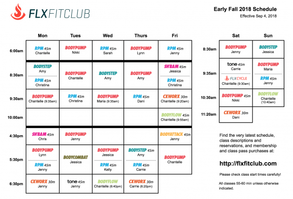 Early Fall 2018 Schedule